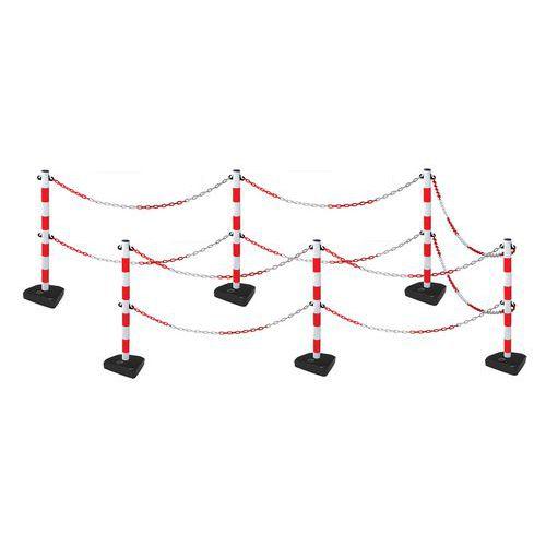 Poste com corrente dupla e base – kit de 6 postes – Manutan