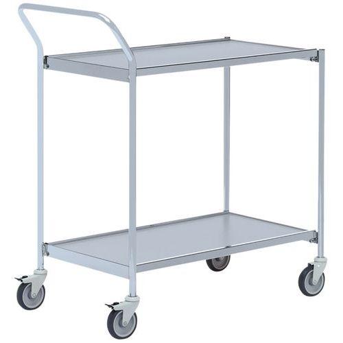 Carro móvel cinzento com pega – 2 plataformas – capacidade de 150kg