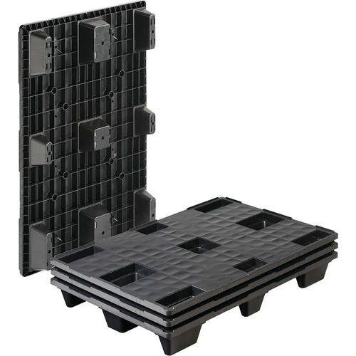 Palete de plástico com 9 pés – plataforma fechada