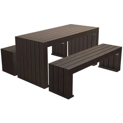 Conjunto de mesa/banco de exterior em plástico reciclado Rebnew – Benito