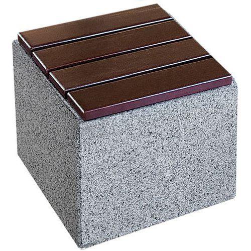 Banco cúbico em betão e granito com assento em madeira Kube – Benito