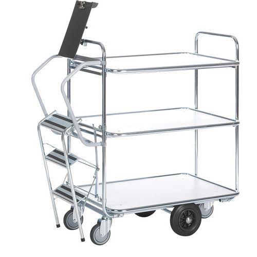 Carro com escada – 3 plataformas – capacidade de 300kg