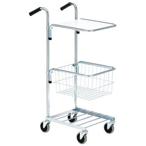 Carro pequeno cinzento com tampo e cesto – capacidade de 50kg