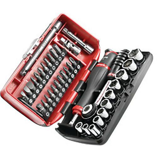 Caixa de roquete + chaves de caixa de 1/4 sextavadas com caixa Nano – Facom