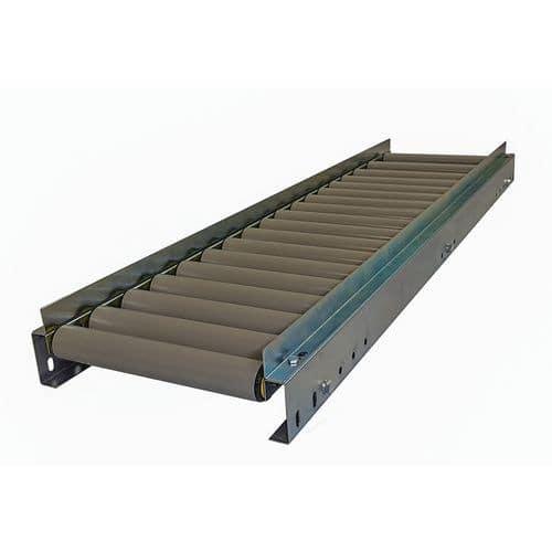 Transportador gravítico com rolos em PVC e guias – Somefi
