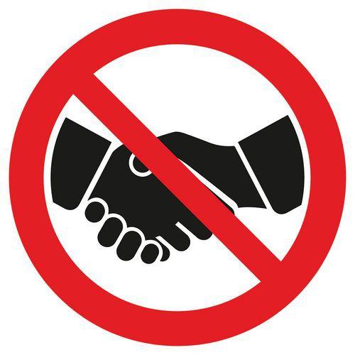 Painel de proibição Não cumprimentar com aperto de mão