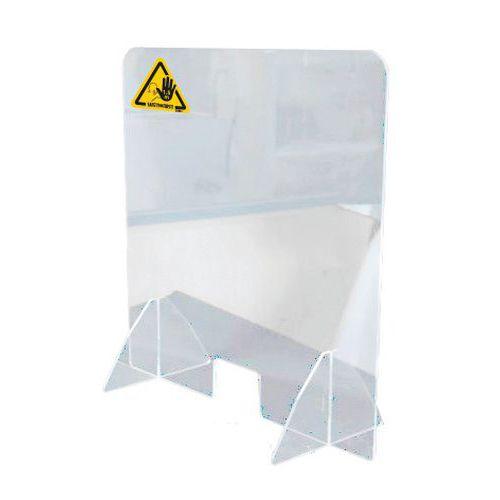 Divisória de proteção para balcão com orifício para objetos – T3L