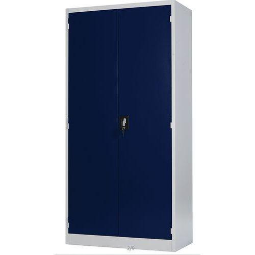 Armário alto com portas rebatíveis – cinzento-claro – Manutan