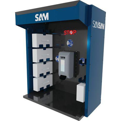 Estação de desinfeção de parede para distribuição de gel – Sanisam