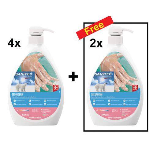 Conjunto de 4 frascos de sabão líquido descontaminante para as mãos de 1L + 2 frascos grátis