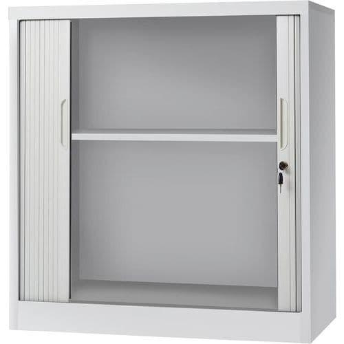 Armário baixo com portas de persiana – cinzento claro – Manutan