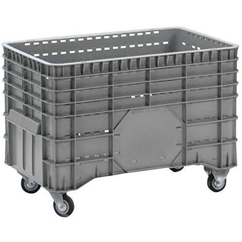 Caixa-palete empilhável – Paredes gradeadas – Com rodas – Manutan