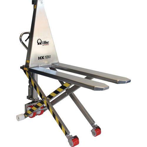 Porta-paletes manual de grande elevação HX10M Inox – 1000kg