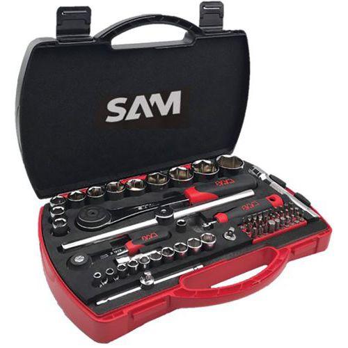 Caixa com 60 ferramentas e casquilhos de 1/4 e 1/2 – SAM