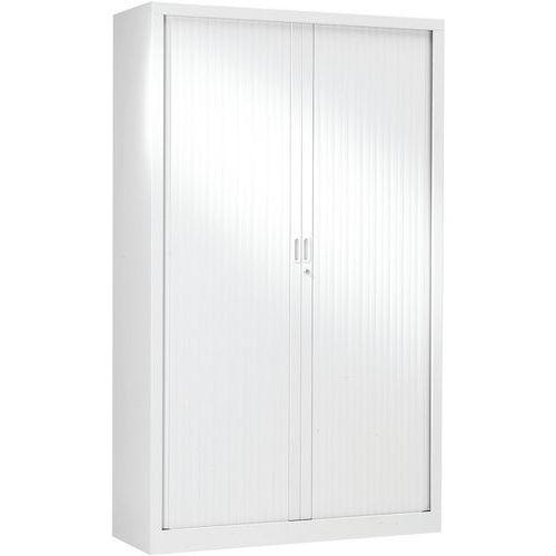 Armário monobloco alto com portas de persiana – Branco – Generic