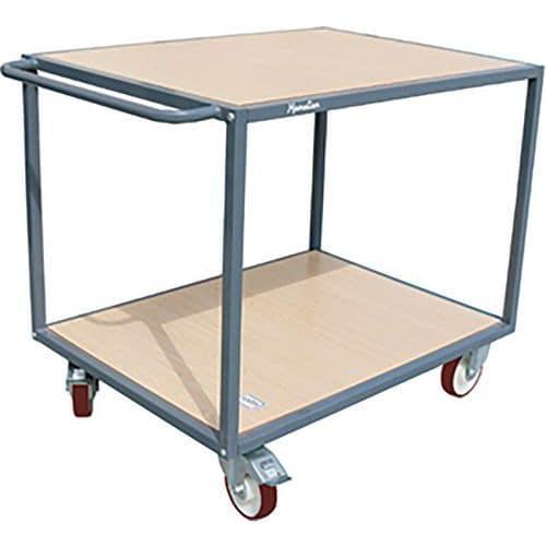 Carro em aço com 2 plataformas em madeira – Capacidade de 400 a 500kg – Manutan