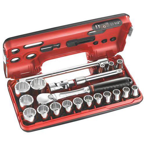 Caixa DBOX de chaves de caixa 1/2 12 faces métricas - 21 peças - SL.DBOX112
